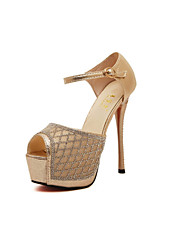 Women's Shoes Stiletto Heel Heels/Peep Toe Sandals Casual Silver/Gold
