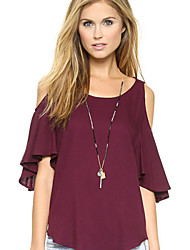 Women's Solid Blue/Red/White/Black Blouse , Round Neck ½ Length Sleeve Ruffle