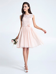 Knee-length Lace Bridesmaid Dress - Pearl Pink Plus Sizes / Petite A-line Scoop