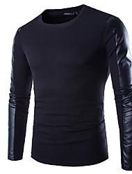 T-shirt Uomo Casual / Da ufficio / Formale / Attività sportive Tinta unita Misto cotone Manica lunga-Nero