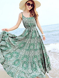 Condole Belt Bohemia National Wind Dress Skirt for a Holiday Green
