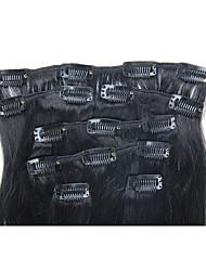 15 pulgadas de clip 7pcs / 70g en extensiones de cabello humano brasileño recto sedoso múltiples colores disponibles