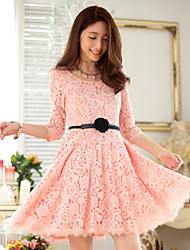 Knee-length Lace Bridesmaid Dress - Pearl Pink/Black A-line Scoop