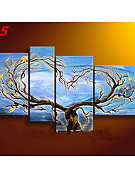Hand-Painted Abstract Lovers Tree Oil Painting on Canvas  4pcs/set No Frame