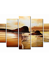 Hand-Painted Art Wall Decor Modern Art Sunset on The Beach Oil Painting on Canvas  5pcs/set (Without Frame)