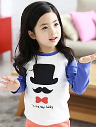 Girl's Cotton/Polyester Fashion Beard/Hat Print Round Collar Long Sleeve Tee