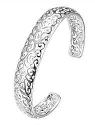Lureme Romantic Style 925 Sterling Sliver Jewelry Hollow Out Cuff Bangle for Women Christmas Gifts