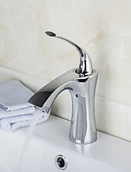 Contemporary Brass Chrome Finish Waterfall Bathroom Sink Faucet