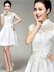 A-line Short/Mini Wedding Dress -High Neck Lace