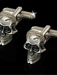 Men's Eyes Pirate Skull Rodger Onyx Blk Wedding Suit Cufflinks