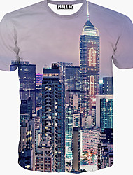 Men's Casual Round Short Sleeve T-Shirts (Cotton Blend)