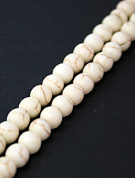 Beadia 2Str x 38Cm(Approx 130PCS) Turquoise Stone Beads 6mm Round White Color Gemstone Loose Beads