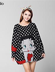 Women's Print Multi-color/Gray T-shirt Long Sleeve