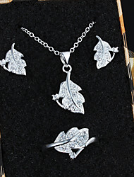 2015 new fashion women Jewelry set 925 Silver Crystal Pendant Necklace Earrings Ring set Bridal jewelry