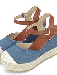 Zapatos de mujer - Tacón Cuña - Cuñas - Sandalias - Casual - Vaquero - Azul