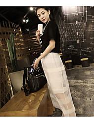 Tall waist elastic stripe net yarn lace skirts long skirt perspective
