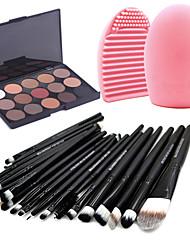 20pcs pinceles de maquillaje sombra de ojos fijados pincel de labios delineador herramienta + 15colors mate sombra de ojos paleta + 1pcs