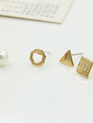Earring Stud Earrings Jewelry Women Imitation Pearl / Rhinestone / Gold Plated 2pcs Silver