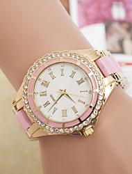 Mulheres Relógio de Moda Quartz Lega Banda Brilhante Preta / Branco / Azul / Vermelho / Rosa / Rose marca-