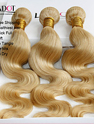 "3 Pcs Lot 12""-30"" Platinum Bleach Blonde 613 Virgin Hair Indian Body Wave Remy Human Hair Weave Bundles Machine Wefts"