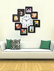 Super-sized Modern Luxurious Wall Clock w/ Photo Frame - Black (1 x AA)