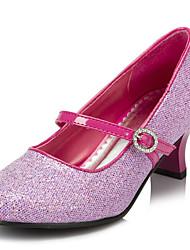 Tacón Bajo-Light Up Zapatos-Tacones-Boda Fiesta y Noche-Satén Elástico-Rosa Plata Oro