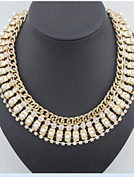 MPL Europe and the United States fashion metal flash diamond pearl necklace
