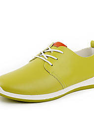 COLOR Men's Shoes Green/White/Dark Blue Oxfords (Leather)