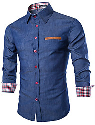 picture,Men's Stand Casual Shirts , Cotton Long Sleeve Vintage / Casual Fashion All Seasons picture