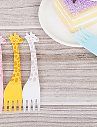 набор 12 жирафа в форме фруктов вилки пластиковые мило партия вилки сервере (случайный цвет)
