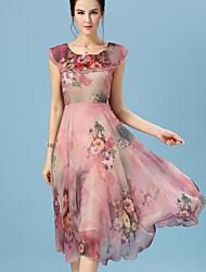 Women's Fashion Printing Beam Waist Chiffon Dress