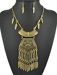 National Women's Necklace Earrings Set of Leaves Tassel