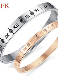 OPK®AAA Zircon Happy Smile Vacuum Plating Rose Gold Diamonds Stainless Steel Bracelet Roman Numerals