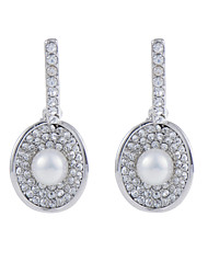 18k Platinum Open Shell Shape Pearl Dangle Earrings