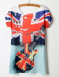2015 Women Summer American and England Flag Printing T-shirt Free Size