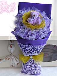 Teddy Bear And 33 Flowers Bouquet Valentine's Day Gift Cartoon Bouquet Wedding Bouquet