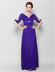 Lanting Bride® Sheath / Column Plus Size / Petite Mother of the Bride Dress Floor-length Half Sleeve Chiffon with Beading