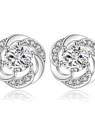 lureme® Fashion Style Silver Plated Geometry Flower Shaped with Crystal Stud Earrings