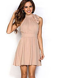 Women's Nude Fit and Flare Chiffon Halter Party Dress