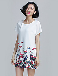 Women's Vintage Micro-elastic Print Slim Plus Sizes Casual Short Sleeve Above Knee Dress (Cotton)