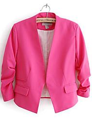 Women's Solid Blue/Pink/Black/Yellow Blazer , Work Shirt Collar Long Sleeve