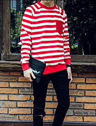 Men's Loose Casual Striped Long Sleeve Tops