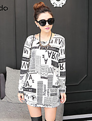 Women's Casual/Daily Dress,Print Above Knee Long Sleeve Multi-color Fall
