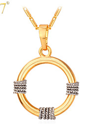 U7® Unisex 18K Real Gold/Platinum Plated Floating Pendants Women/Men Jewelry Hot Fancy Italy Two Tone Gold Necklaces
