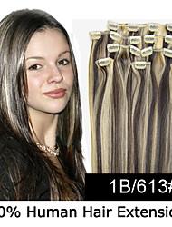 22inch 8pcs / set 100g clip-in hair remy human hair extensions 23 kleuren voor vrouwen schoonheid