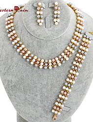 Westernrain Nigeria Pearl Jewelry Gold Multicolor pearls Necklace Artificial Pearl Wedding New Fashion  Jewellery sets