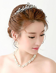 Rhinestones Titanium Jewelry Sets/Necklace with Earrings with Forehead Piece