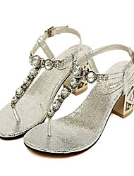 Women's Shoes Chunky Heel Ankle Strap Sandals Casual Silver/Gold