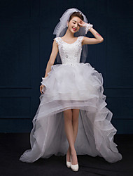 A-line Asymmetrical Wedding Dress - V-neck Lace