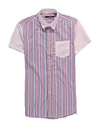 Men's Short Sleeve Shirt , Cotton Blend Casual/Work/Formal/Sport Striped